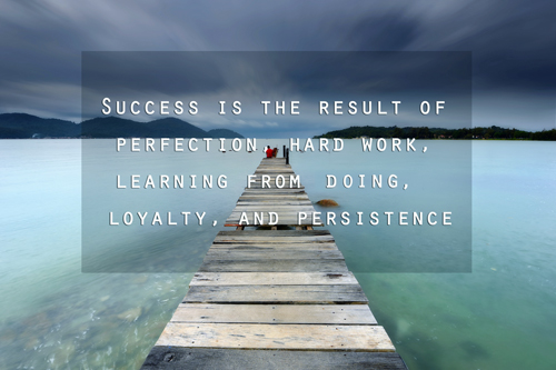 Success is the result of perfection, hard work, learning from doing, loyalty, and persistence